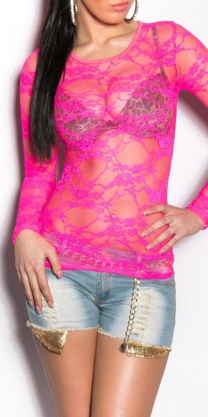 Sexy Spitzen-Longsleeve in Neon