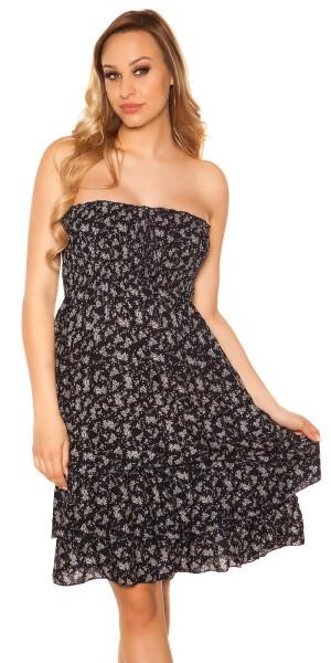 Trendy Sommer Bandeau Kleid gemustert