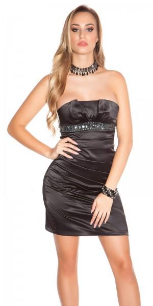Sexy Cocktail-Bandeau Kleid  mit Strassborte