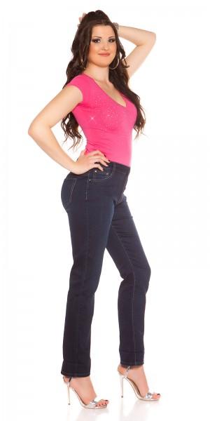Curvy Girls! Trendy Jeans mit Stickerei und Strass