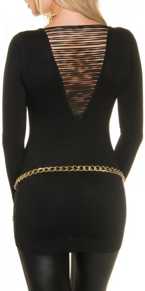 Sexy Feinstrick-Longpulli mit Rücken-Ausschnitt