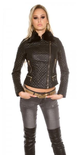 Sexy Leder-Bikerlook Jacke mit Fellkragen
