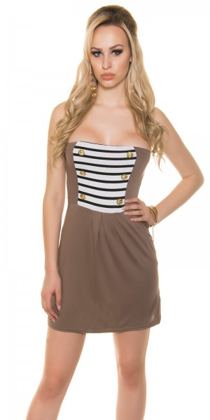 Sexy bandeau Minikleid im Military-Look