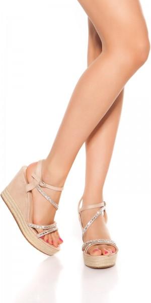 Sexy Keilabsatz Sandalette mit Glitzersteinen