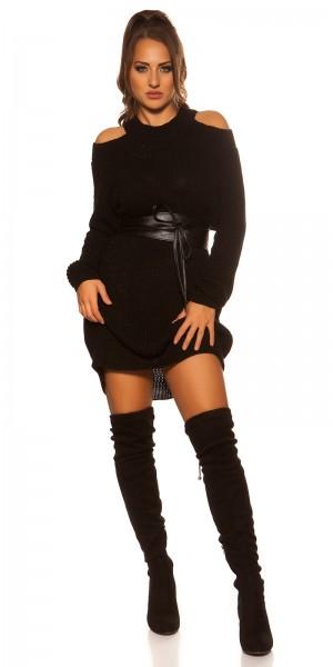 Sexy KouCla Cold Shoulder Strick Minikleid