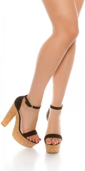 Sexy High Heel Sandale mit Korkabsatz