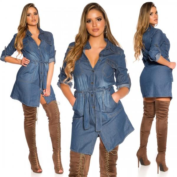 Sexy Jeans Longbluse / Minikleid mit Gürtel