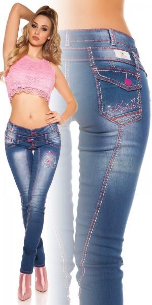 Sexy KouCla Jeans mit pinker Ziernaht