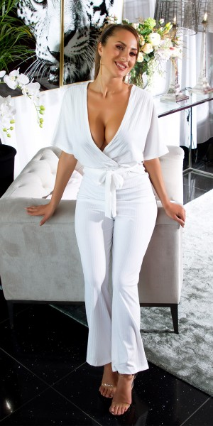 Sexy Kurzarm Overall mit Gürtel