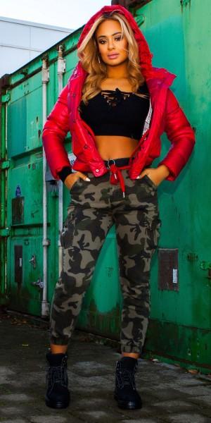 Trendy Cargo Jeans Camouflage mit Gürtel