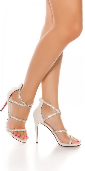 Sexy Sling High Heel Sandalette mit Strass
