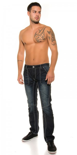 Trendy Mens Jeans dark blue mit Ziernaht