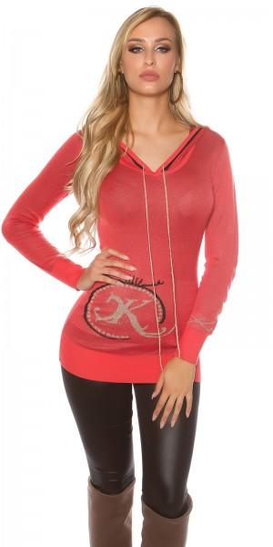 Sexy KouCla Strick-Pullover mit Glitzerprint