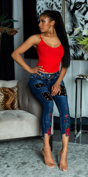 Trendy Skinny Jeans mit Applikationen