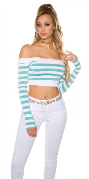Sexy langarm Crop Shirt, gestreift