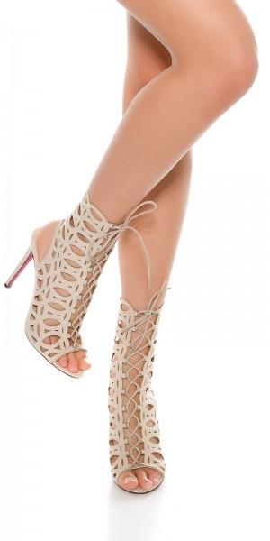 Sexy Velourslook-High Heel mit Cutouts