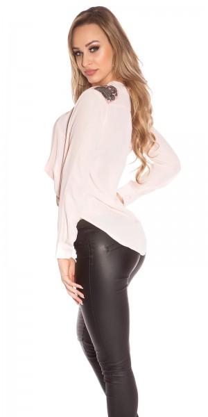 Sexy KouCla Bluse mit Schulterapplikationen