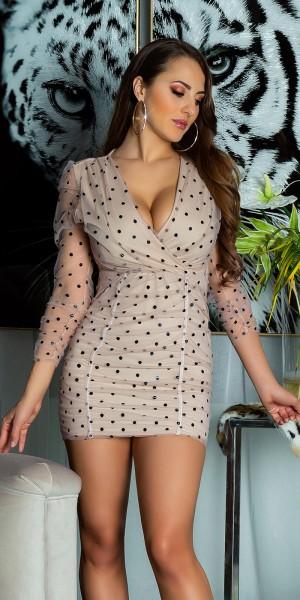 Sexy Langarm Chiffon Mini Dress mit Polka Dots