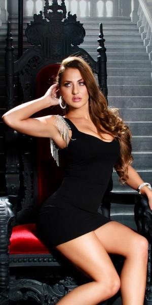 Sexy Mini Black Kleid mit Metallfransen