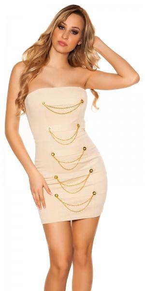 Sexy Bandeau-Minikleid mit Ketten und Knöpfen