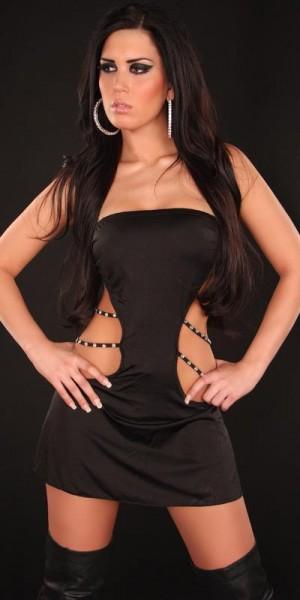 Sexy Gogo-Bandeau-Kleid rückenfrei mit Strass
